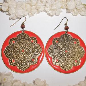 VINTAGE Orange & Bronze Statement Earrings 5025